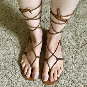Mossimo Tan Gladiator Lace Sandals